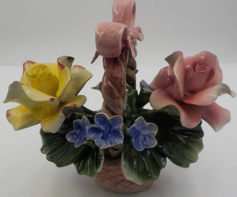 Antique Capodimonte Roses Basket - Table Centerpiece - Porcelain - Superb Condition - Made in Italy - Art Collectible