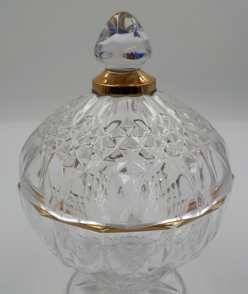 Crystal lidded Dish - Gold Gilding - Ornate Design - So Chic