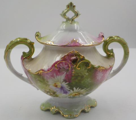 Lidded Sugar Bowl-Ornate Design - Cottage Charm - Gold Gilding