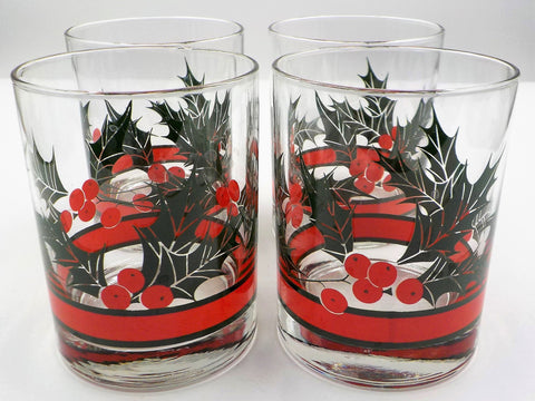 4 Festive Old Fashion Glasses - Holiday Glasses - Holly and Berries- Vintage Libby