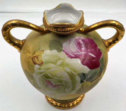 Antique Ewer Vase - Nippon Hand Painted - Gold Gilding - Gift