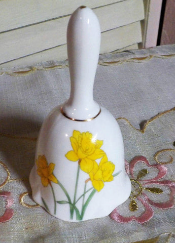 Bone China Bell - Collectible Bell - Daffodils - Gold Gilding