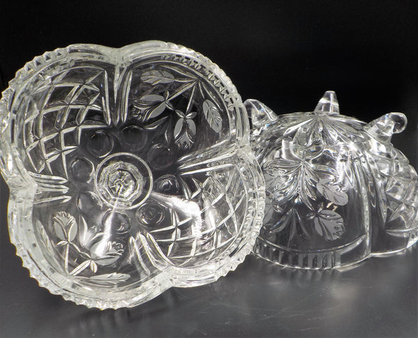 Crystal Footed Bowl - Chic and Elegant - Etched Glassware - Superb condition