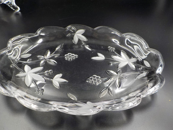 Footed Crystal Bowl and Tray - Matching - Footed Glass Dish - Etched Glassware - So Chic