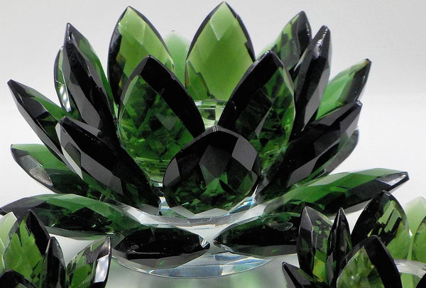 Pillar Candle Holder - Green Sorelle Crystal - Excellent Condition