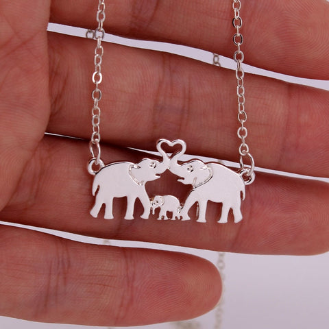Warm Elephant family necklace