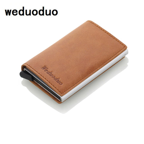 RFID Mens leather wallet with Aluminium Credit Card Holder