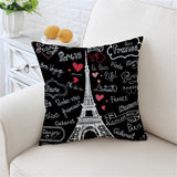 Eiffel Tower Black Pillow