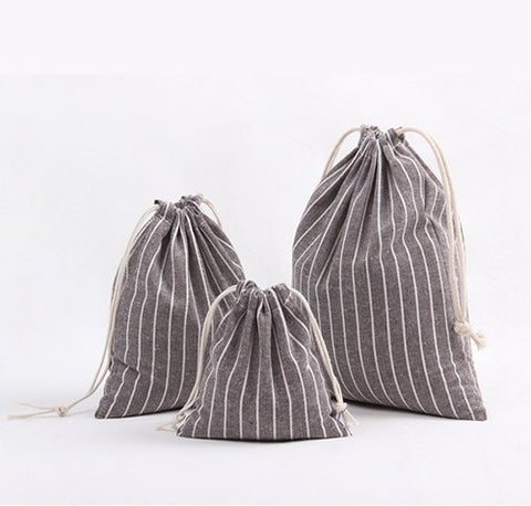 100% Cotton Linen Striped Travel Bag