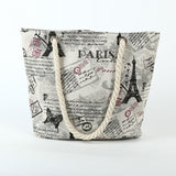 Paris Canvas Beach Bag