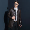Autumn Turn Down Collar Coat Jacket Long Leather For Men Excellent  Single Breasted Leather Trench Coat Men