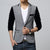 Men Blazer Jacket Patchwork Sleeve Single Button Business Casual Suit