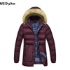Casual Fur Collar Hooded Medium Long Winter Coats Men