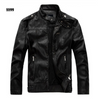Mandarin Collar Motorcycle Leather Jacket men