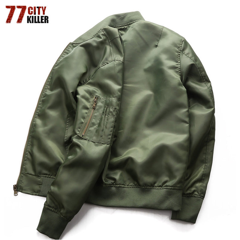 Mens Flight Jackets Spring Autumn Windproof Solid Air Force Jacket Long  Sleeve Zipper Casual Pilot Coats b839e7d304b