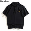 Animal Embroidery Polo Shirt Men Summer High Street Men's Polo Shirts Black White Cotton Shirts