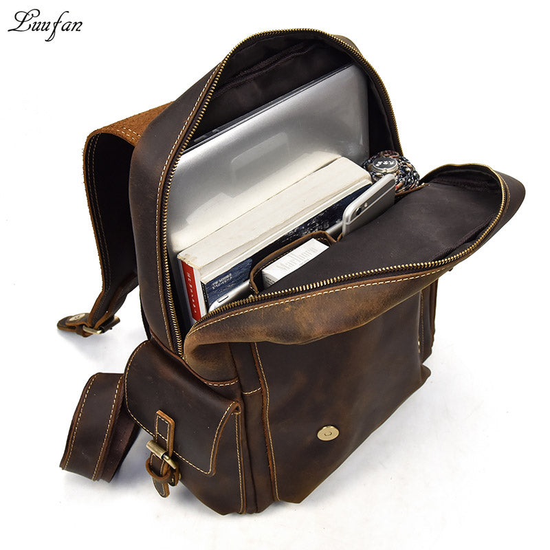 9f34d39adc Big Capacity Men Backpack Crazy Horse Leather Laptop rucksack daypack  genuine cow leather school backpack bags