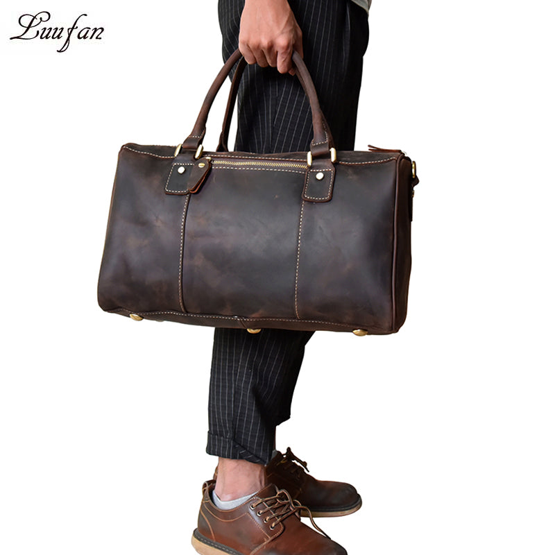 a302e06b5a47 Crazy Horse Leather Men Travel Bag Vintage Genuine cowhide leather travel  duffel bags weekend luggage bag