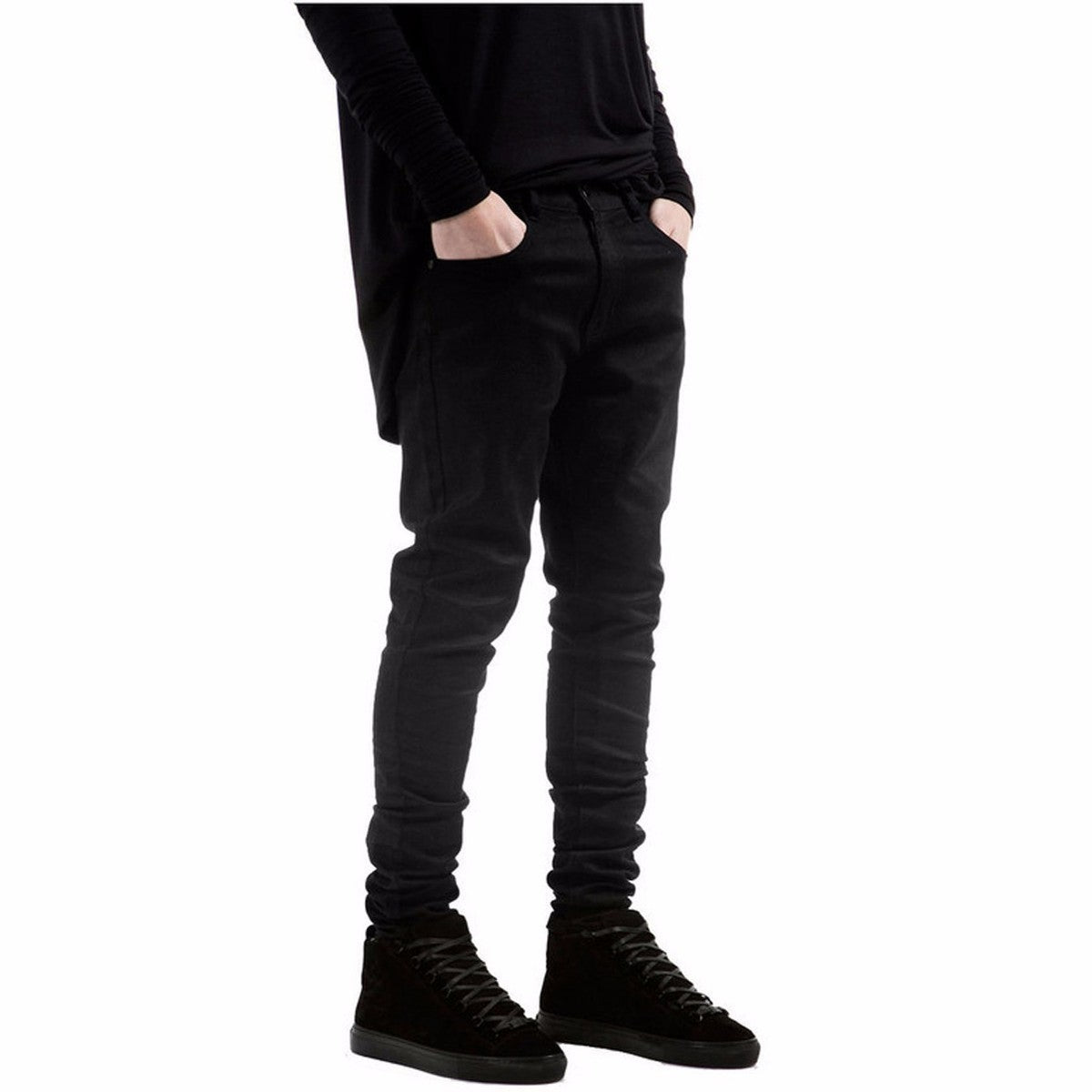 All black Slim Fit straight solid color High street biker jeans