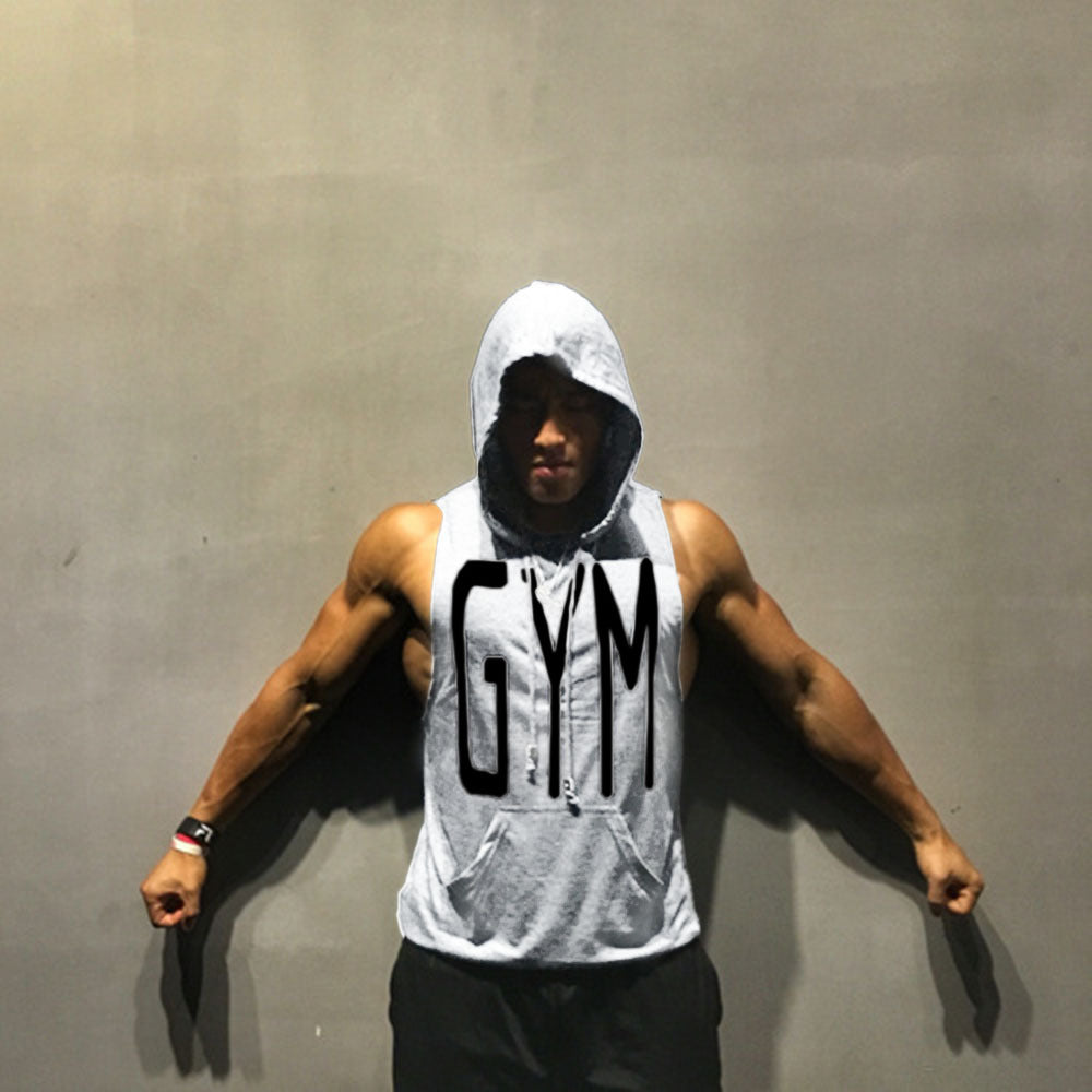 72cd0f4545e034 Men Workout Hooded Tank Tops Sleeveless Shirt Gyms Hoodies with Pocket  Bodybuilding and Fitness Stringer Vest