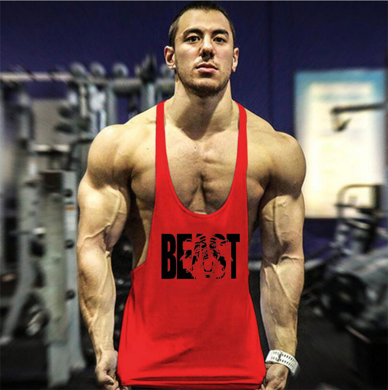 2e22436cfd35b Fitness Clothing Bodybuilding Stringer Tank Top Men Cotton Curved hem Y  Back Sleeveless t shirt Workout