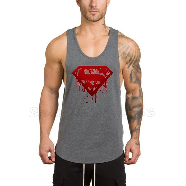964be175c6fc4 Superman Vest Gyms Stringer Sleeveless Shirt Bodybuilding clothes Fitness  Tank Top Men sportswear Undershirt