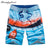new summer men beach cotton shorts printed elastic waist 2 colors