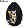 Cartoon Printed Curved Hem Long Line Men's Shirt Street wear Extended Shirt Men Black Purple