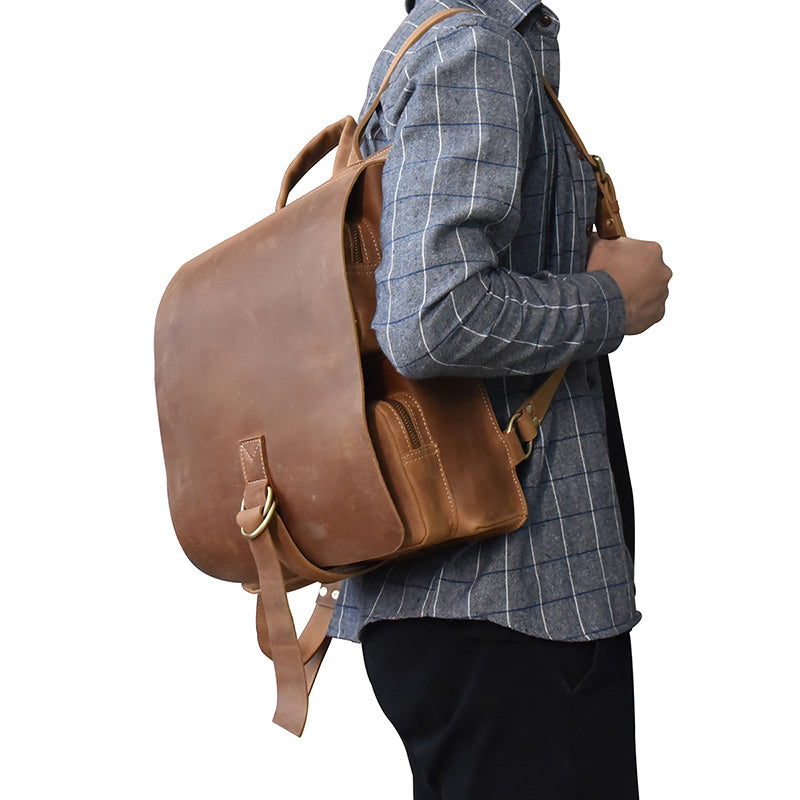 Casual Crazy horse Leather Backpack Men Genuine Leather Vintage  Multifunctional School Bags Daypack Man Travel Rucksack 799bbb9f109c0