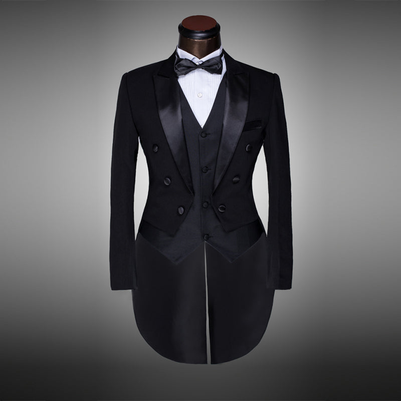 Men Black White Wedding Suit Groom Tuxedo Evening Party Costumes Tailcoat 4 Pieces Blazer Jacket Pants Belt Tie
