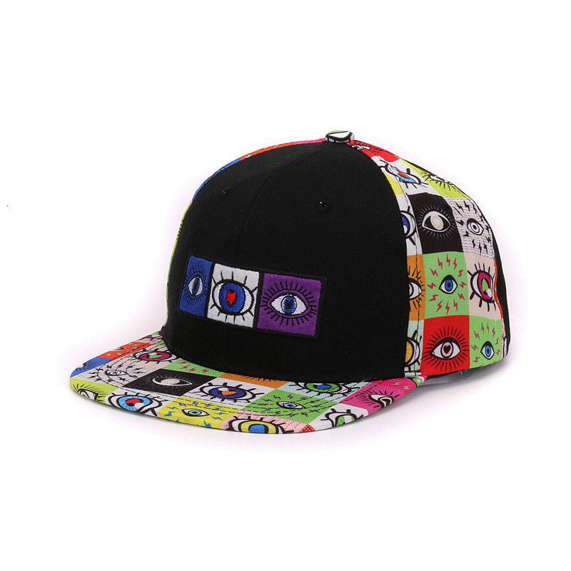 adf29f1533a Cotton 6 panels snap back eyes embroidery and printed flat bill men baseball  cap hip hop