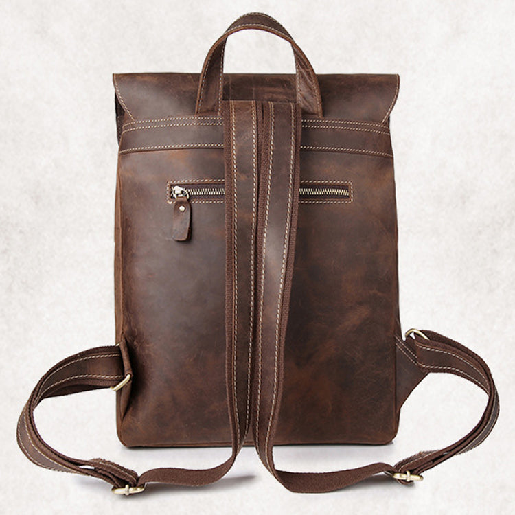 feb195e17c0 Crazy Horse Cowhide Leather Backpack Men Vintage Genuine Leather Daypack  Big School Book Laptop Bags Travel