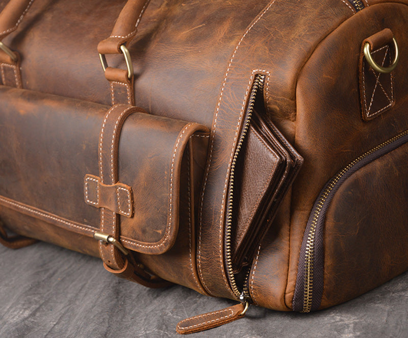 b4adca0933a9 Crazy Horse Genuine Leather Travel Bag Men Vintage Travel Duffel bag big  Cow Leather Carry On Luggage Weekend large shoulder Bag