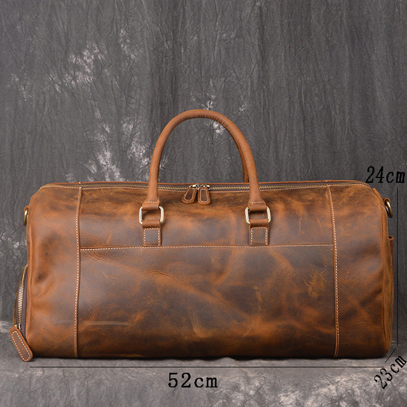 dd7b07bd030b Crazy Horse Genuine Leather Travel Bag Men Vintage Travel Duffel bag big  Cow Leather Carry On