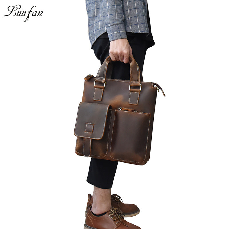 Crazy horse leather men shoulder bags vintage genuine cow leather messenger  crossbody bag Top handle big 2579f02b2953b
