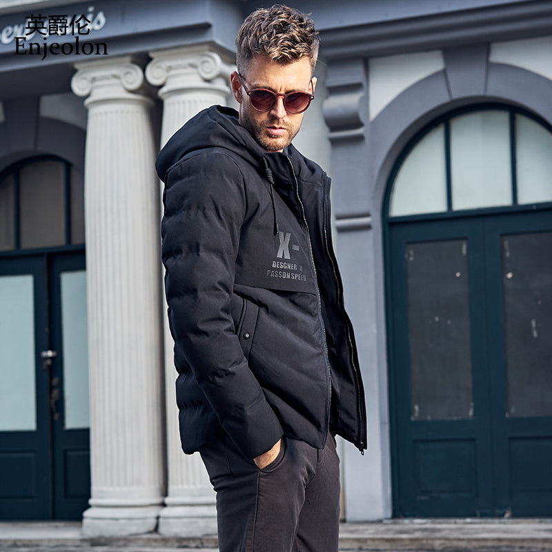 58d5b2527 Cotton Padded Jacket coat Men Parka black hoodies collar coat Thick ...
