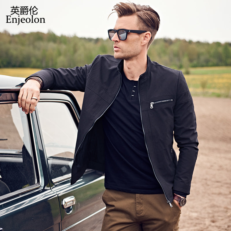 04dbe39d3320 autumn winter new Bomber casual jackets coat men black solid coats stand  collar Jacket clothes