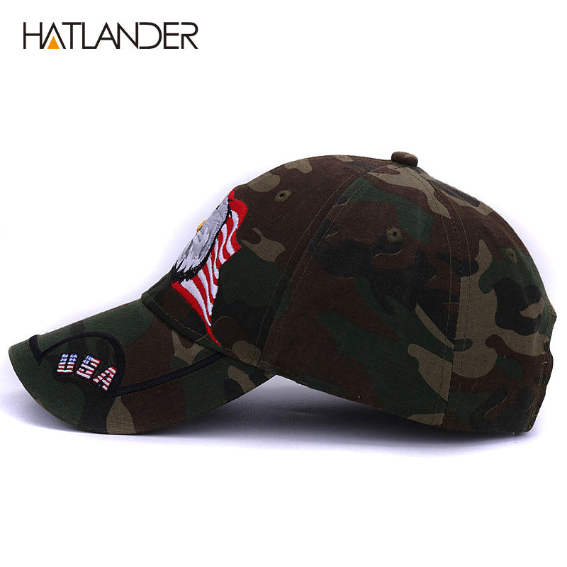 0331e180a5d Embroidery Eagle baseball caps for men women outdoor fishing hats USA flag army  baseball hats