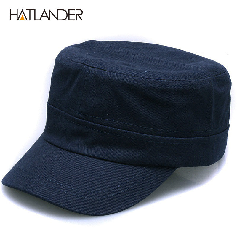 Plain cotton Military hats unisex outdoor solid sun hat adjustable snap  back blank flat top Army e8439613f47f