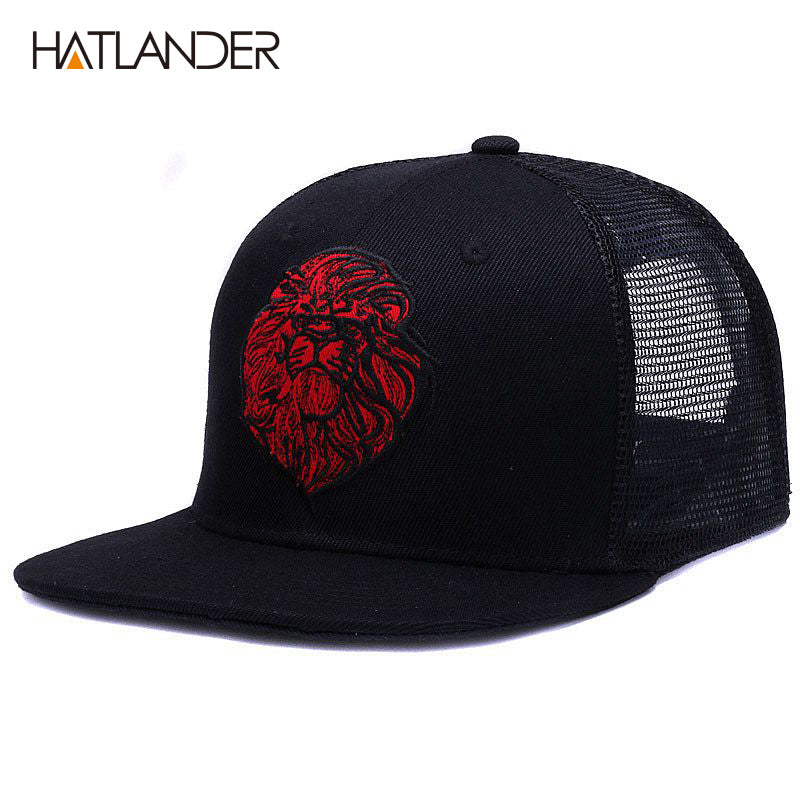 556d4ff2 Original black baseball caps for boys girls summer sun hats embroidery lion  mesh hip hop bone trucker hat