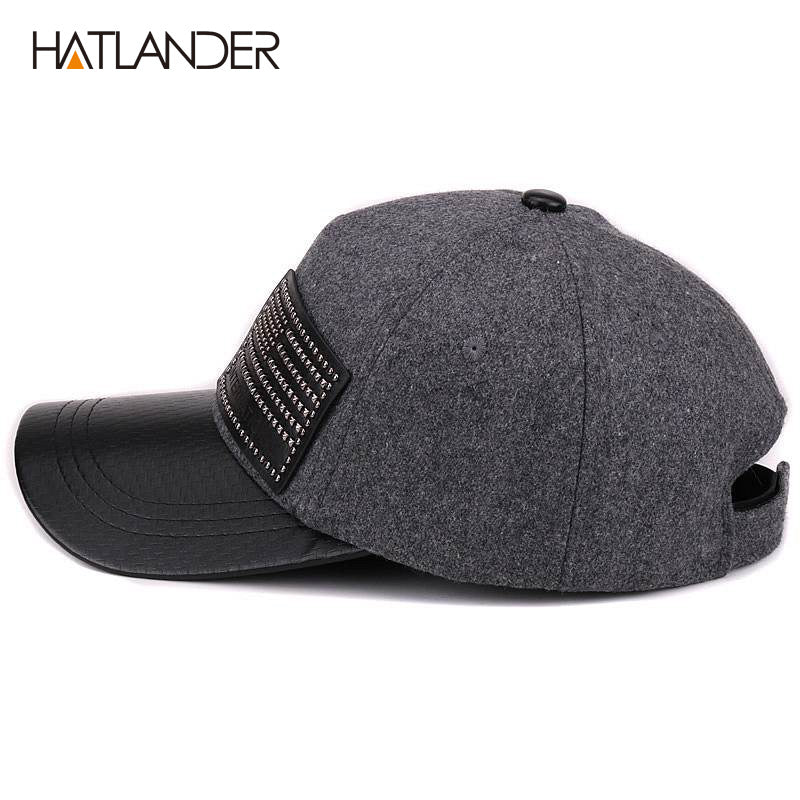 2ac3c65ec Thick Wool Baseball Caps For Men Women Winter Hat Solid Faux Leather  Baseball Cap Warm Snap back Hats