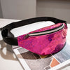 AIREEBAY Women Fashion Waist Bag Hologram Fanny Pack Waterproof Waist Packs Laser Silver Unisex holographic Chest Bags for Girls