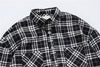 Black White Plaid Flannel Shirt Men Long Sleeve Spring Freon Short Back Long Hip Hop Shirt Over sized Shirts