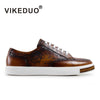 Handmade Vintage Fashion Luxury Brown Leisure Male Shoe Genuine Leather Men's Casual Skateboard Shoes