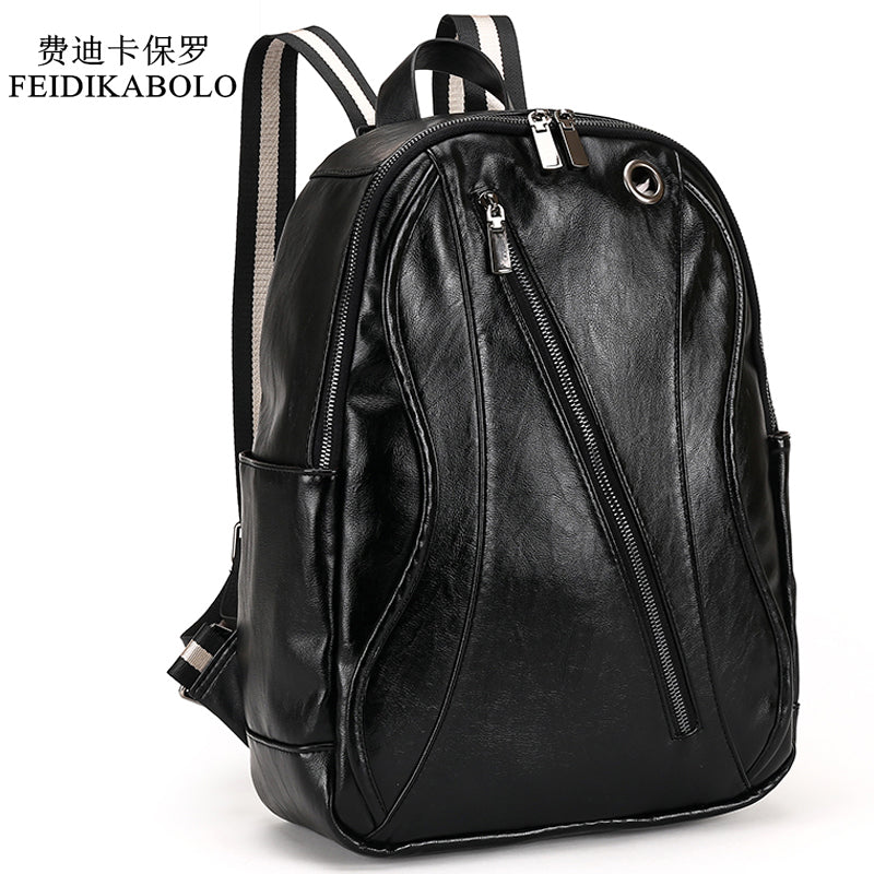 16bd5ec6e15 Men Leather Backpack For Laptop Male Business Mochilas Couro Masculina  Motorcycle Back Pack Travel Rucksack School