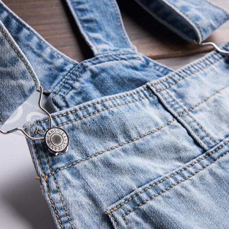 Sokotoo Mens Light Blue White Denim Bib Overalls Male Casual Straight Slim Jumpsuits Jeans Free Shipping A Wide Selection Of Colours And Designs Jeans