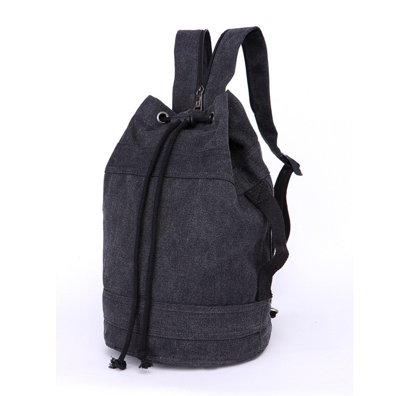 Unisex Canvas Backpack Different Sizes Bucket Drawstring Backpack Travel Bag Casual Men