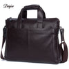 Leather Men Handbag Fashion Briefcase Bag Cowhide Shoulder Bag Business Man Solid 14 Inches Laptop Bag Male