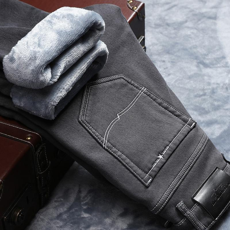 5455bcf4d51 2019 Winter New Men Warm Gray Jeans High Quality Elasticity Thicken Skinny  Plus Velvet Denim Pants