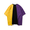 3 Colors Patchwork Irregular Hem Line Printed T-shirt Hip Hop T shirts  Summer Hi-fashion Tee Shirts Street wear Clothing